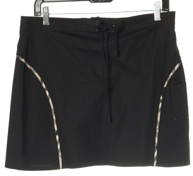 BURBERRY LONDON Black Logo Trim Drawstring Mini Skirt