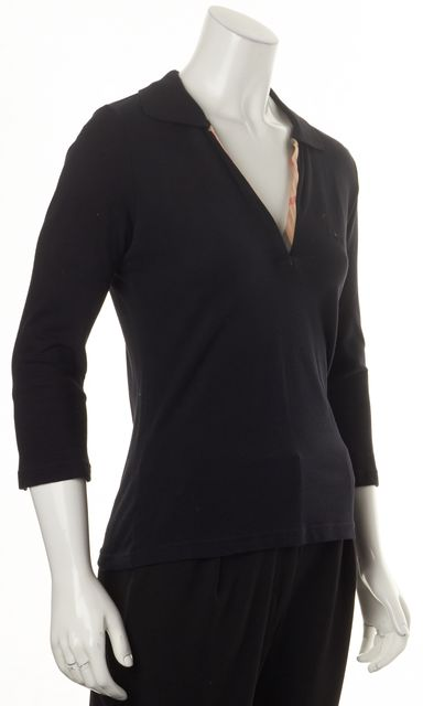 BURBERRY LONDON Black House Check Trimmed Cropped Sleeve V-Neck Knit Top