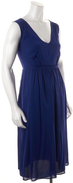 BURBERRY LONDON Blue Silk Sleeveless V-Neck Side Slit Tea Dress