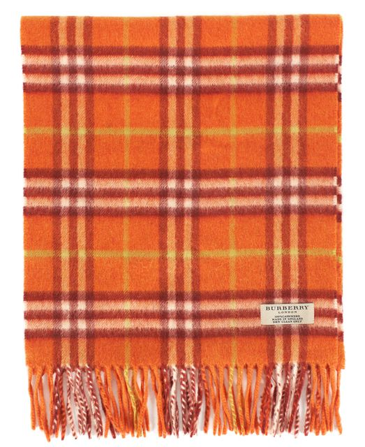 BURBERRY LONDON Orange Cashmere Knit House Check Fringe Scarf