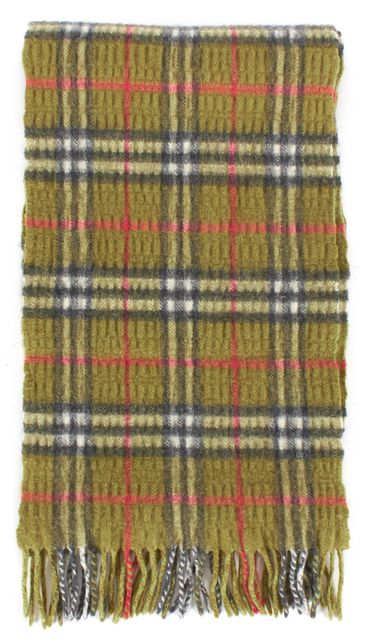 BURBERRY LONDON Green Cashmere Wool Knit House Check Fringe Scarf