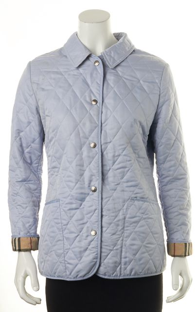 BURBERRY LONDON Ice Blue Quilted Snap Front Basic Jacket