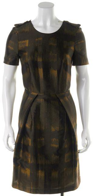 BURBERRY LONDON Brown Gold Ochre Abstract Short Sleeve Blouson Dress