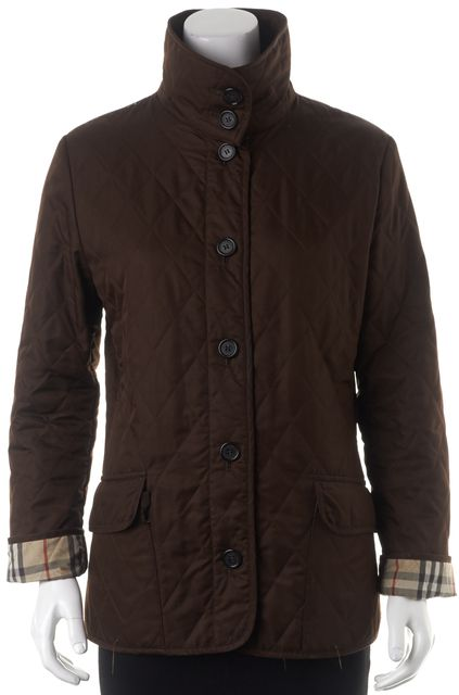 BURBERRY LONDON Brown Quilted Button Front Basic Jacket