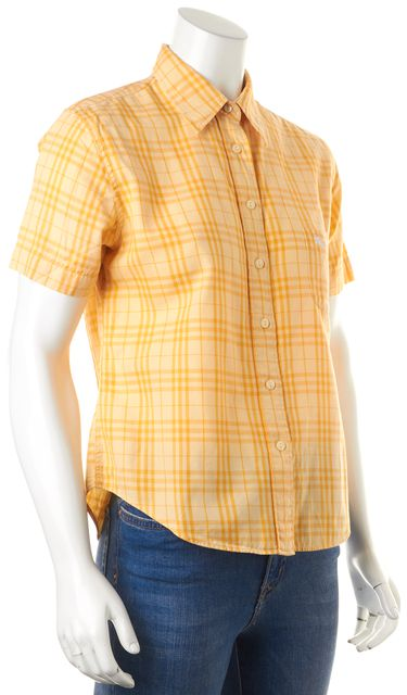 BURBERRY LONDON Yellow Plaid Button Down Shirt Top