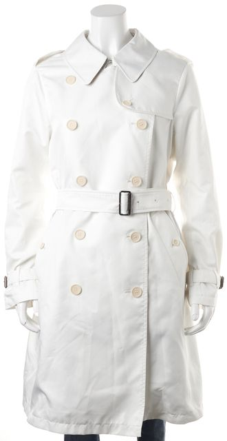 BURBERRY LONDON White Double Breasted Belted Basic Jacket