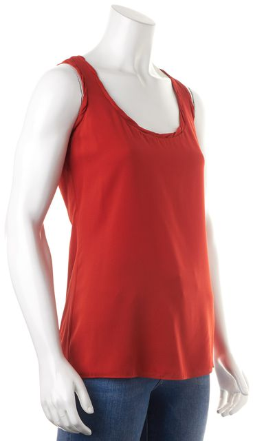 BURBERRY LONDON Orange Silk Relaxed Fit Sleeveless Blouse Top