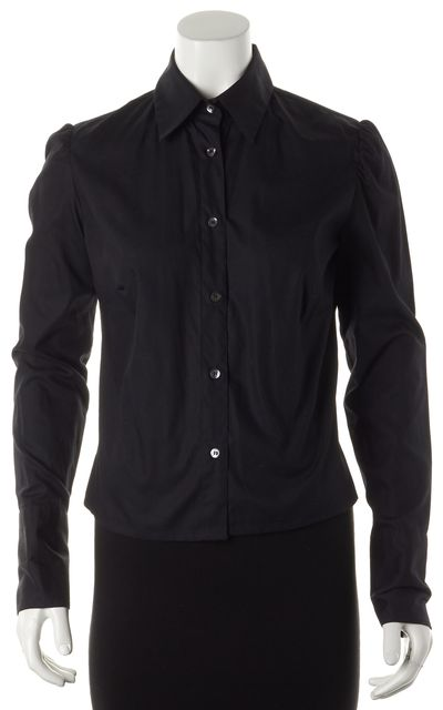 BURBERRY LONDON Black Long Sleeve Button Down Shirt Top
