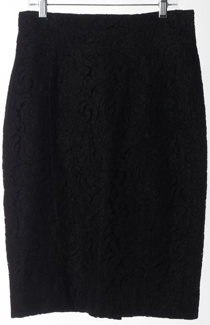 BURBERRY LONDON Black Lace Overlay Knee-Length Straight Skirt