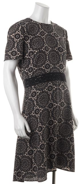 BURBERRY LONDON Black Beige Abstract 100% Silk Short Sleeve Blouson Dress