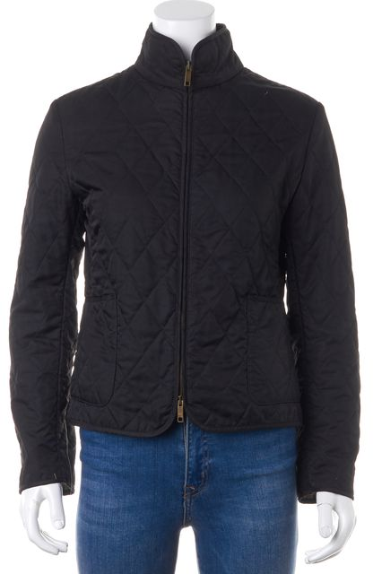 BURBERRY LONDON Black House Check Lined Zip Up Patch Pockets Quilted Jacket