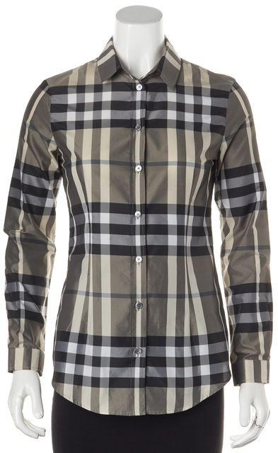 BURBERRY LONDON Gray Beige Black Plaid House Check Button Down Shirt
