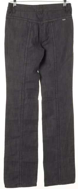 BURBERRY LONDON Gray Cotton Denim Grommet Pockets Trousers Pants