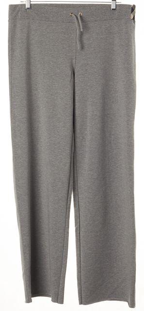 BURBERRY LONDON Gray Check Trim Fleece Lined Drawstring Casual Pants