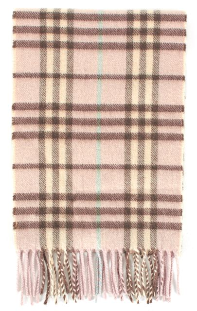 BURBERRY LONDON Pink Beige Plaid House Check Cashmere Fringe Trim Scarf