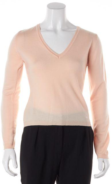 BURBERRY LONDON Orange Merino Wool Knit V-Neck Sweater