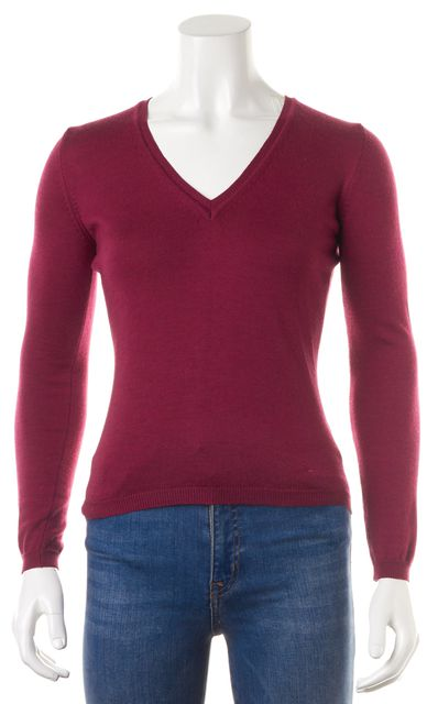 BURBERRY LONDON Purple Wool Long Sleeve V-Neck Sweater