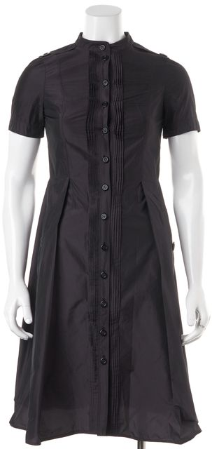 BURBERRY LONDON Purple Button Up Short Sleeve Sheath Dress With Pockets
