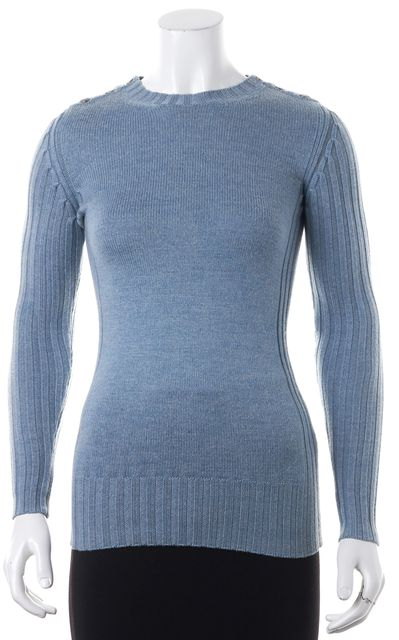 BURBERRY LONDON Blue Wool Button Shoulder Crewneck Sweater