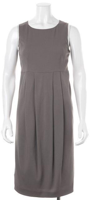BURBERRY LONDON Gray Wool Pleated Sleeveless Blouson Dress