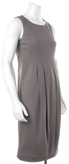 BURBERRY LONDON Gray Wool Pleated Sleeveless Blouson Dress