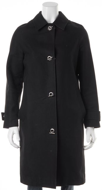 BURBERRY LONDON Solid Black Chain Closure Coat