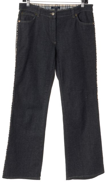 BURBERRY LONDON Blue Mid-Rise Plaid Trim Wide Leg Jeans