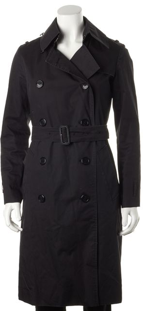 BURBERRY LONDON Solid Black Basic Irene Detachable Wool Trench Coat