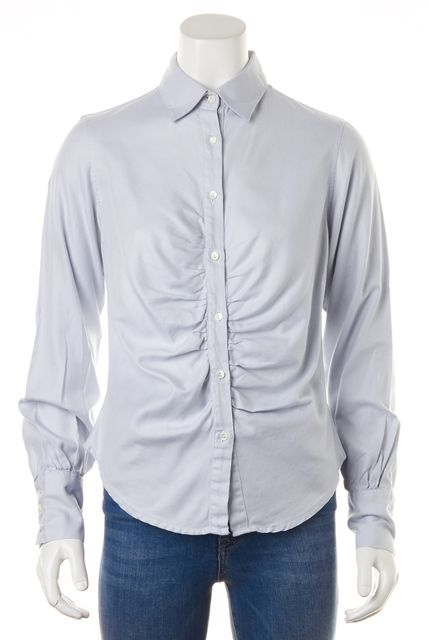 BURBERRY LONDON Blue Long Sleeve Button Down Shirt Blouse