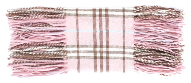 BURBERRY LONDON Pink Beige Blue Plaid House Check Cashmere Fringe Trim Scarf