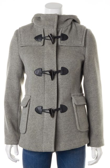 BURBERRY LONDON Gray Wool Hooded Basic Toggle Jacket Coat