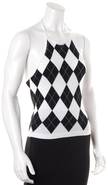 BURBERRY LONDON White Black Argyle Halter Top