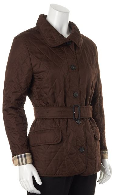 BURBERRY LONDON Chocolate Quilted Belted Basic Jacket