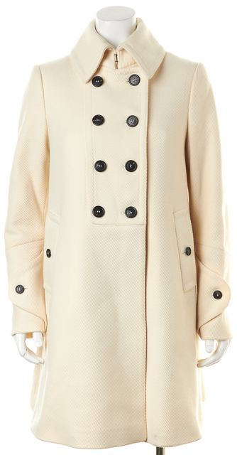 BURBERRY LONDON Ivory Wool Double Breasted Peacoat