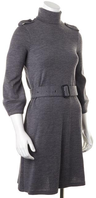 BURBERRY LONDON Gray Wool Belted 3/4 Sleeve Turtleneck Sweater Dress