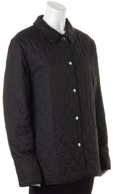 BURBERRY LONDON Black Quilted Snap Button Front Basic Jacket