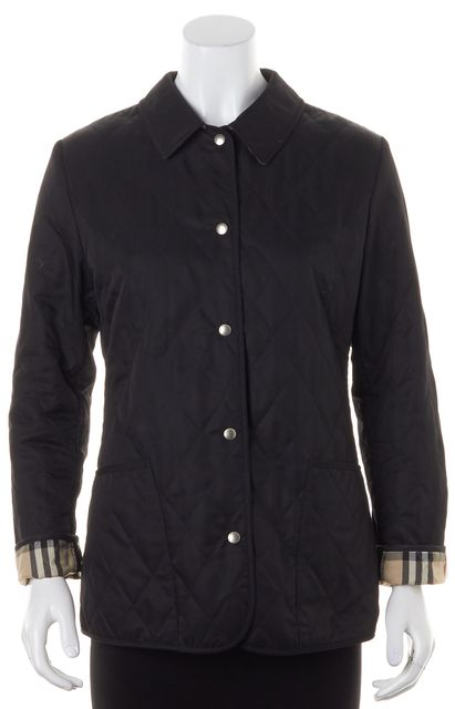 BURBERRY LONDON Solid Black Basic Button Up Quilted Jacket