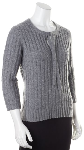 BURBERRY LONDON Gray Cashmere Cable Knit Tie-Collar Sweater