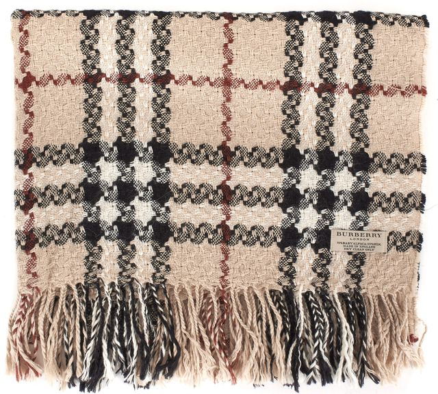 BURBERRY LONDON Beige House Check Woven Baby Alpaca Silk Fringe Trim Scarf