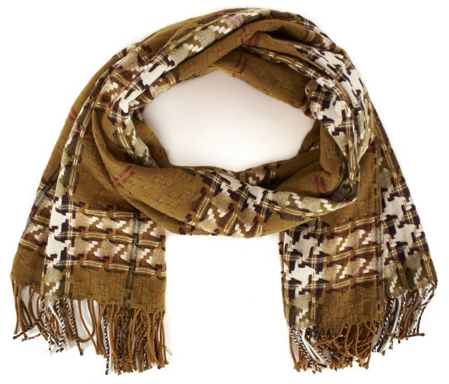 BURBERRY LONDON Mustard Brown House Check Woven Wool Cashmere Fringe Trim Scarf