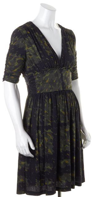 BURBERRY LONDON Green Abstract Empire Waist Dress Size IT 44 US 10