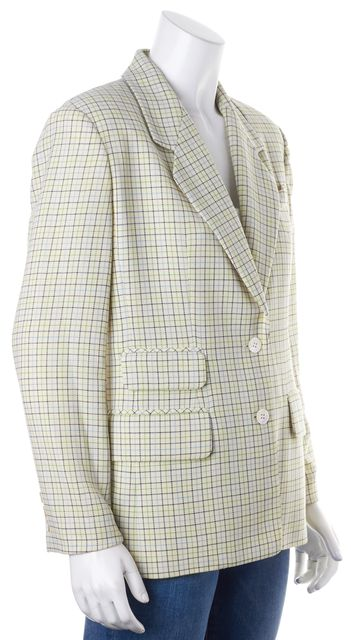 BURBERRY LONDON Ivory Green Blue Check Wool Two-Button Blazer