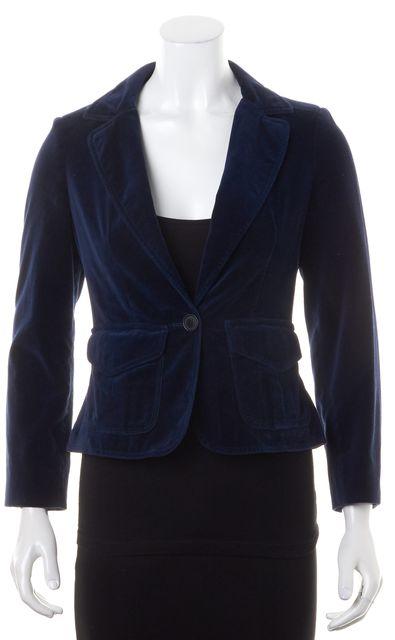 BURBERRY LONDON Deep Blue Velvet One Button Jacket