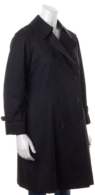 BURBERRY LONDON Solid Black Double Breasted Button Down Coat