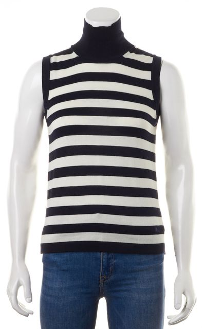 BURBERRY LONDON Blue White Striped Turtleneck Knit Top Blouse