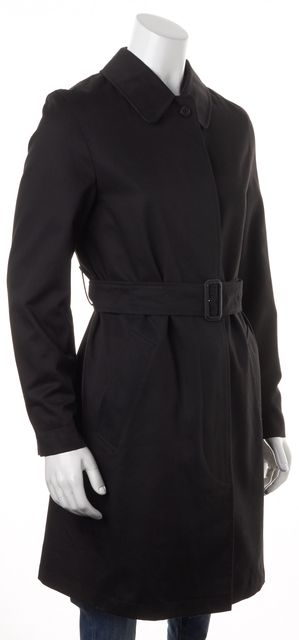 BURBERRY LONDON Black Solid Belted Trench Jacket