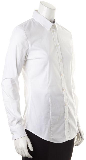 BURBERRY LONDON White Cotton Long Sleeve Button Down Shirt Blouse