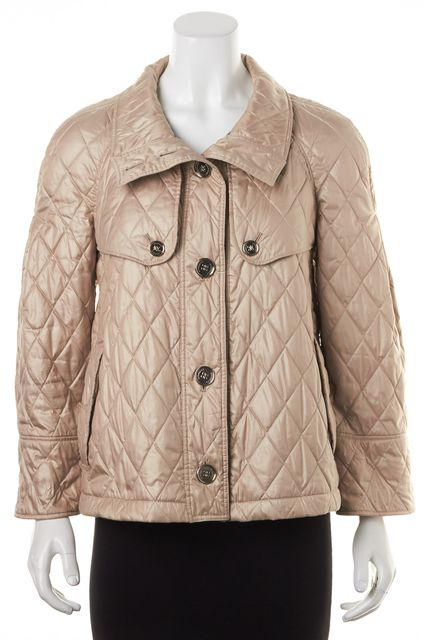 BURBERRY LONDON Beige Tan Button Up Basic Quilted Coat