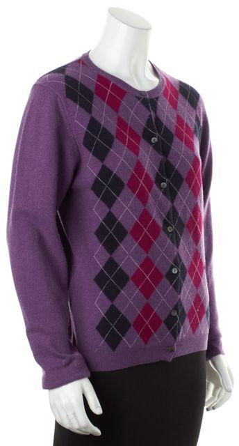 BURBERRY LONDON Purple Argyle Wool Long Sleeve Cardigan Sweater