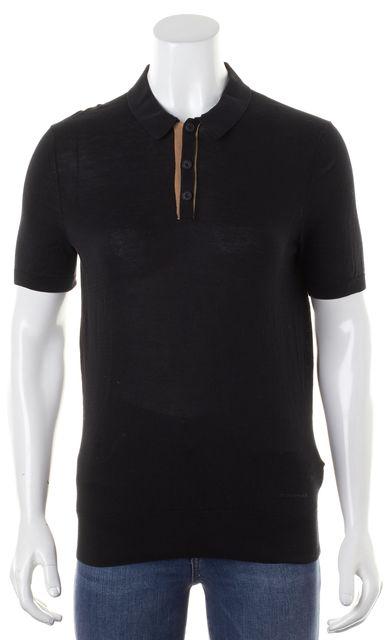 BURBERRY LONDON Black Cotton Knit Short Sleeve Polo Shirt Top